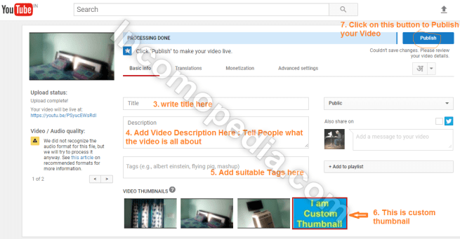 youtube tags, description, custom thumbnail and title
