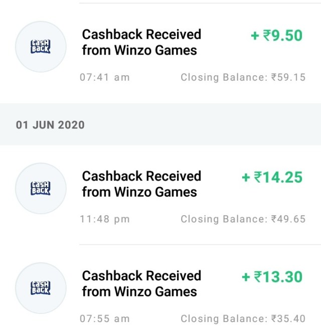 winzo payment proof Paytm