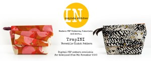 Header Image showing two TrapINI bags, the In Complete Stitches logo and details fothe pattern release