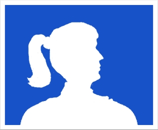 "A personalized ""blank"" silhouette avatar showing a ponytailed girl in profile."