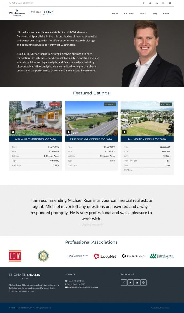 Michael P. Reams Bellingham_Commercial Real Estate website design home page