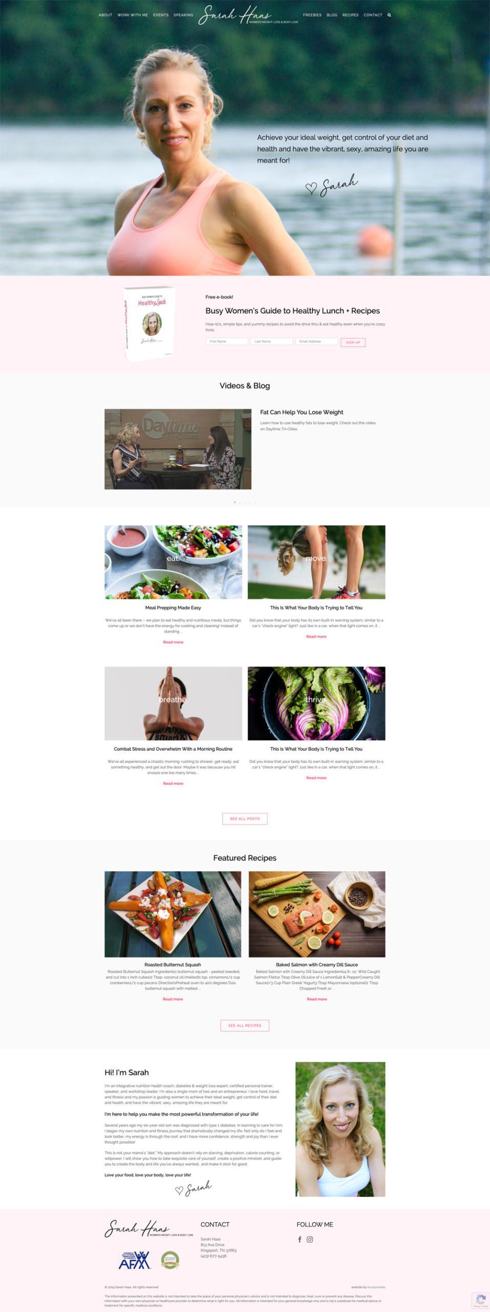 Health Coach Website Design Home Page