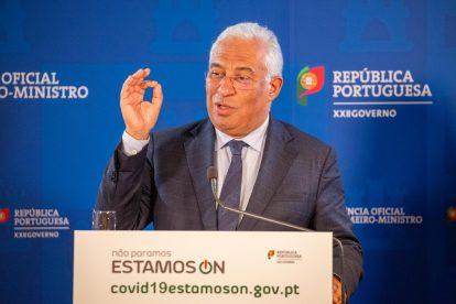 António Costa, primeiro-ministro de Portugal, numa conferência de imprensa sobre a COVID-19