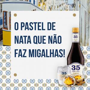 Imagem do licor creme de pastel de nata que não faz migalhas no restaurante O Tosco em Braga