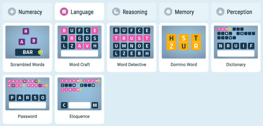 memory improvement games using language