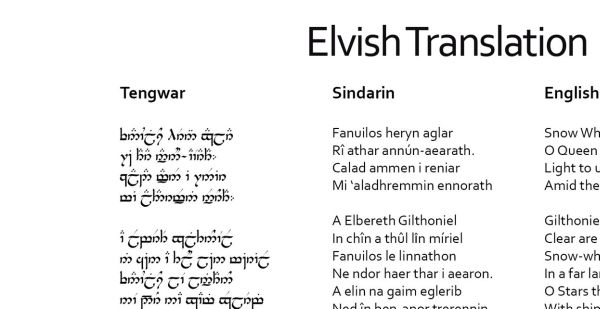 Elvish-The language of The Lord of the Rings