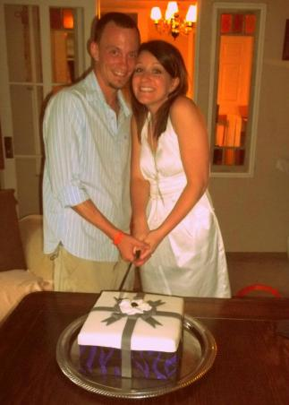 #101-Jessica and Adam cut their Wedding Shower Cake together!