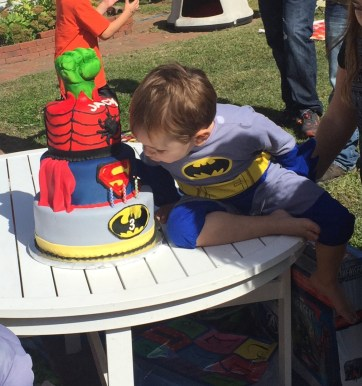 #368- Jack blowing out his Superhero cake