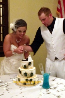 #157- Brittany and Tyler cut their Peacock Feather wedding cake