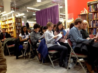 Photos from The Incredible Sestina Anthology reading at the NYU Bookstore, February 19, 2014. Photos by Kira Grunenberg