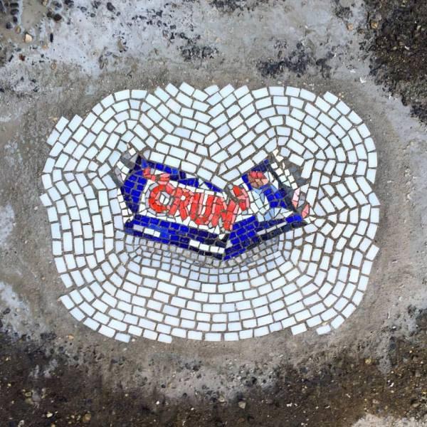 Artist Livens Commute With Pothole Mosaics