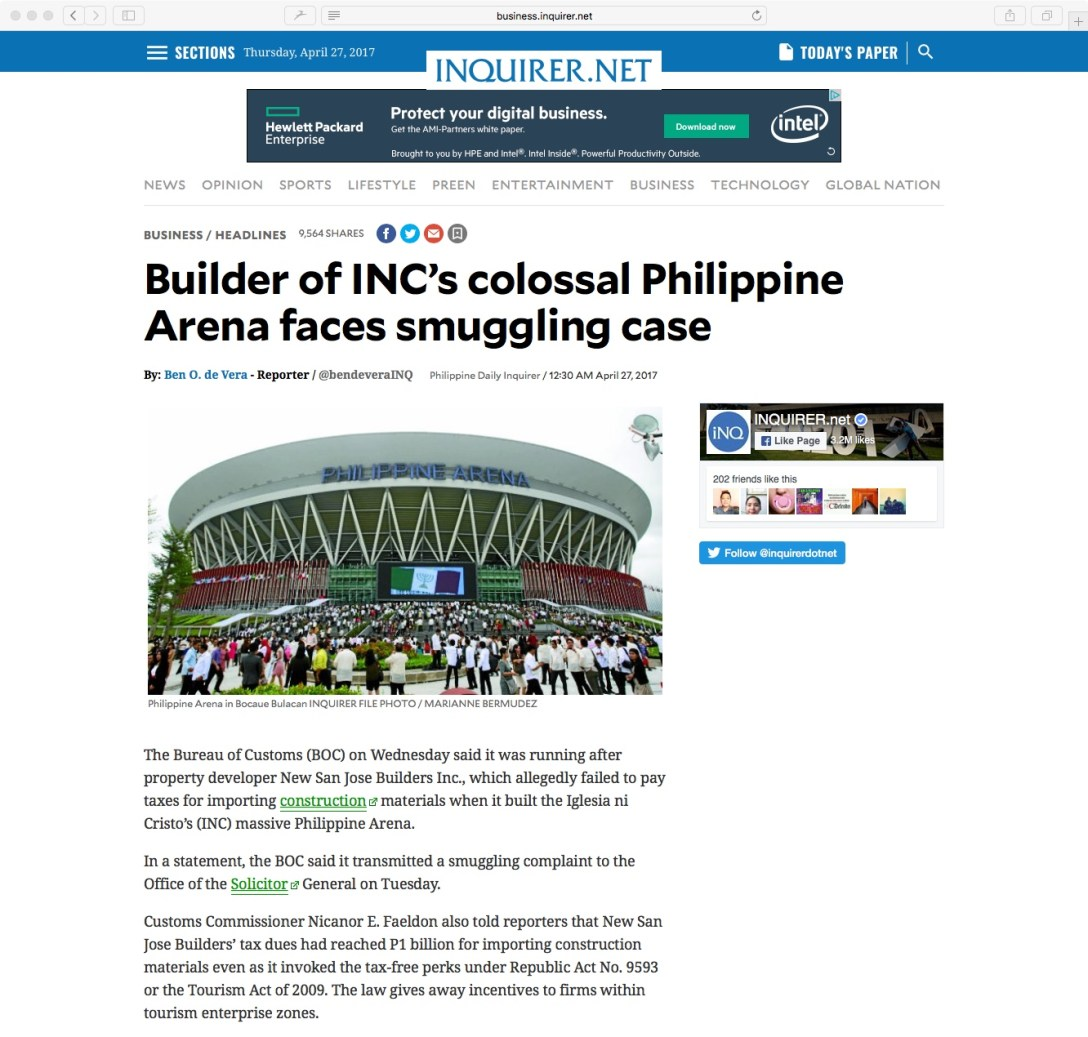 Business Inquirer INC Smuggling - 1