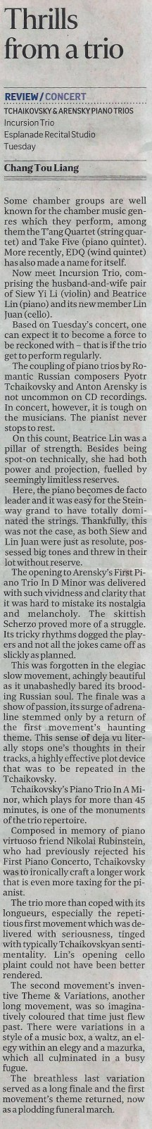 The Straits Times, LIFE! Page D7 | 13th July 2017 (Friday) Reviewer: Chang Tou Liang