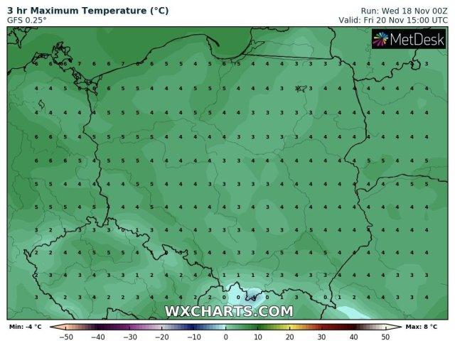 Prognozowana temperatura maksymalna w piątek, 20 listopada 2020. Model: GFS
