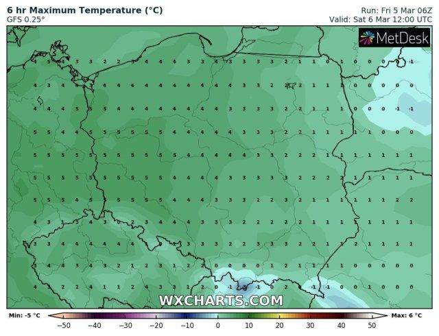 Prognozowana temperatura maksymalna w sobotę, 6 marca 2021 r. Model: GFS