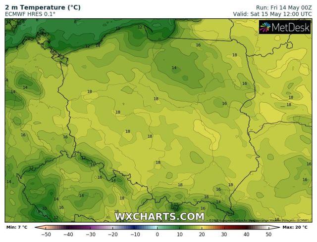 Prognozowana temperatura maksymalna w sobotę, 15 maja 2021 r. Model: ECMWF