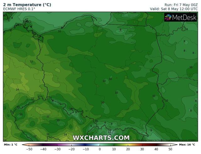 Prognozowana temperatura maksymalna w sobotę, 8 maja 2021 r. Model: ECMWF
