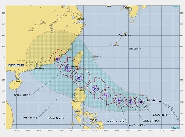 Prognozowana trasa tajfunu Chanthu. źródło: taiwannews.com.tw