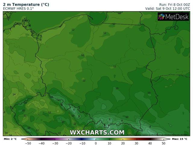 Prognozowana temperatura maksymalna w sobotę, 9 października 2021 r. Model: ECMWF
