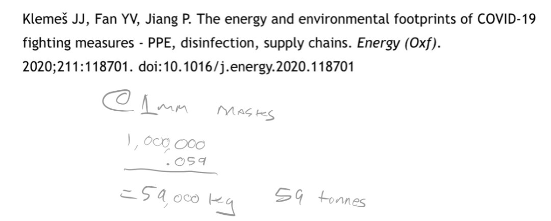 Reference to journal article and calculations reaching conclusion of 59 tonnes CO2/million masks.