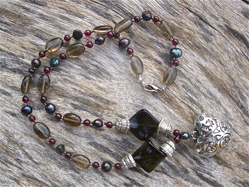 Smokey Quartz garnet necklace