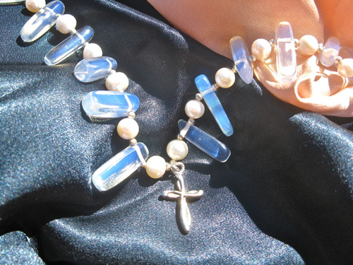 Moonstone cross necklace