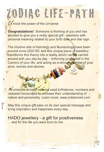 Information gift card that can be sent with any Zodiac / Life Path jewellery gift from our shop