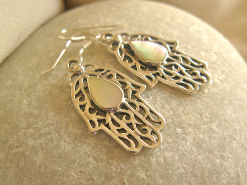 Pearl Hamsa earrings