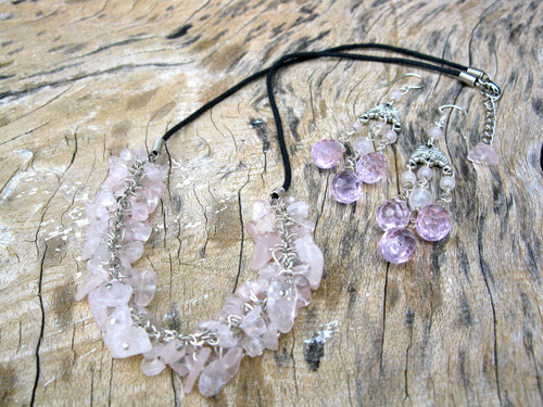Rose Quartz love necklace set