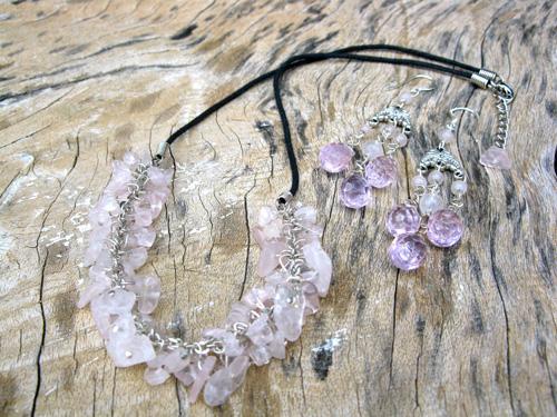 Rose Quartz love necklace set