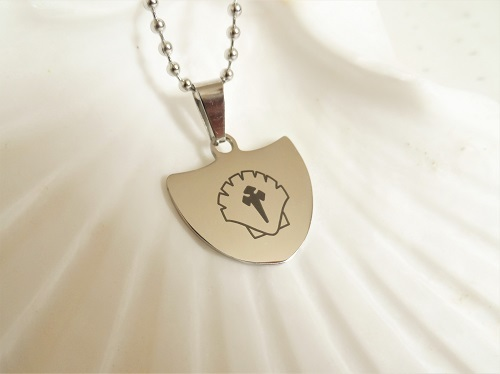 Travellers Shield necklace for safekeeping