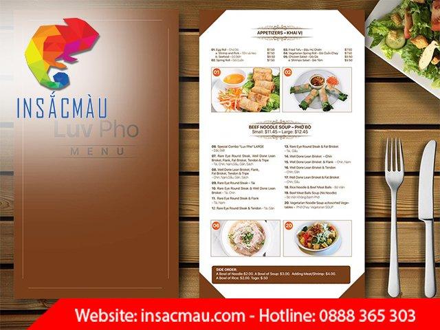 in menu giá rẻ