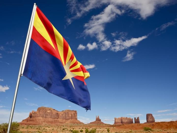 Arizona Flag over Monument Valley