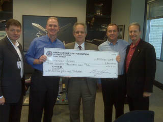 Photo of outsize check being received