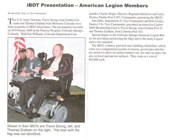 Photo of article re. iBot presentation to American Legion members