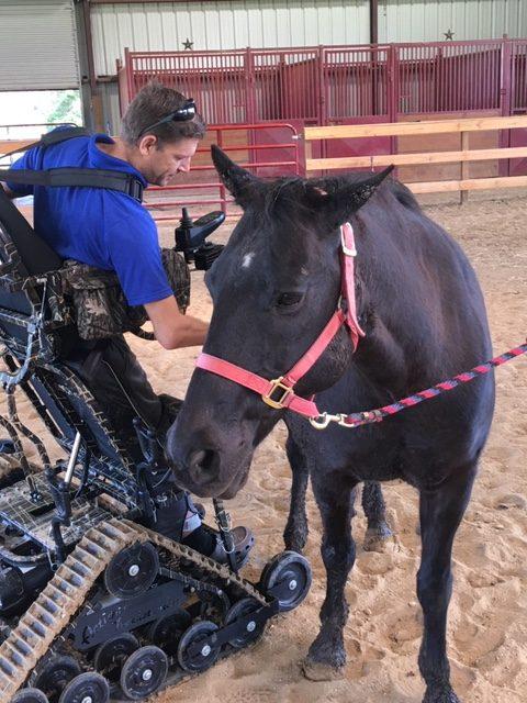 Veteran, Trackchair and his horse Johnathan Merchant
