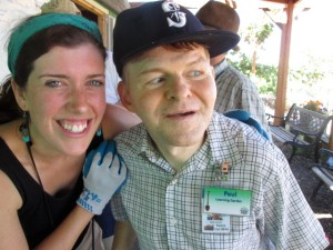 Paul volunteering at the Oregon Food Bank Learning Gardens with Jackie