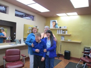 Paul (front) with his Aunt Pam, and cousins Tim and Jamela at the family's salon Connections in NW Portland