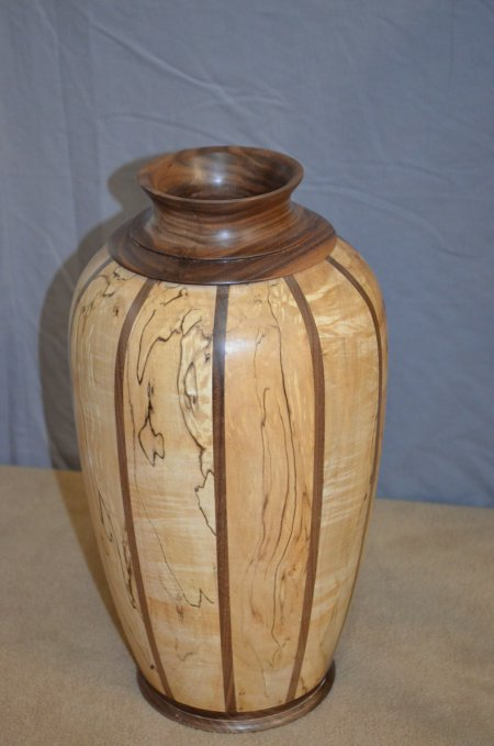 Large staved vase of spalted maple and walnut by Michael Straughn