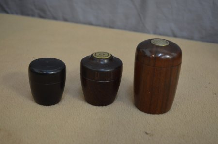 Lidded boxes of African blackwood and Katalox by Phil Royer