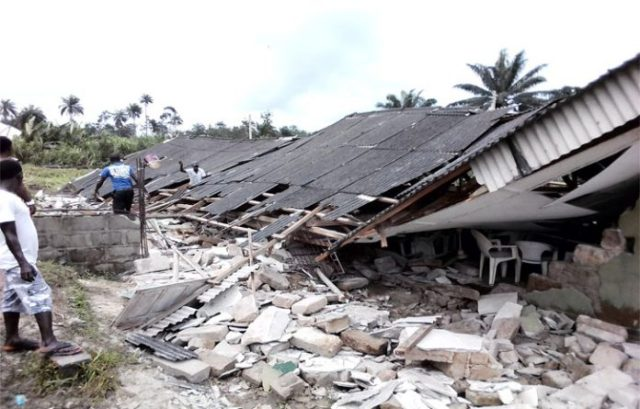 collapsed church in delta