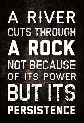 Persistence quote river rock