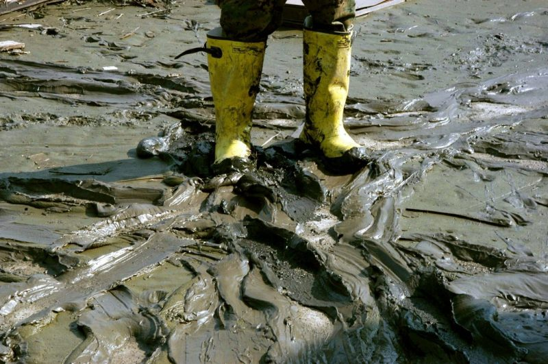 Muddy roads after flood