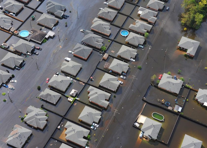 Flood homes city aerial vies