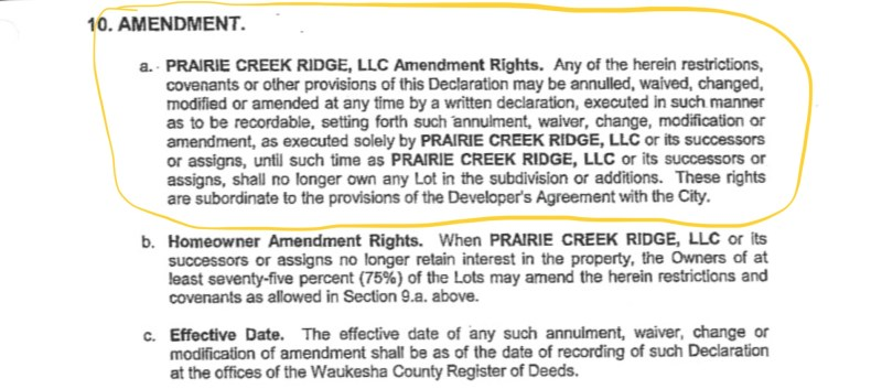Prairie Creek Ridge Declarant developer control amendments