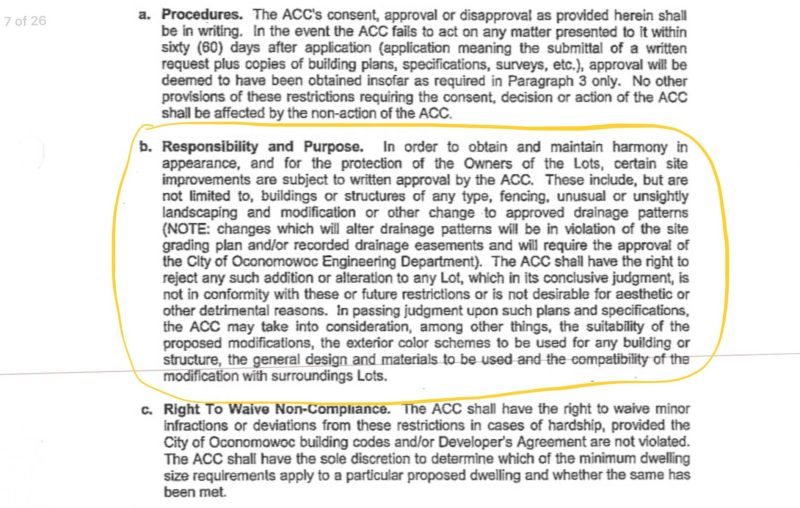 Prairie Creek Ridge ACC purpose written Approval needed