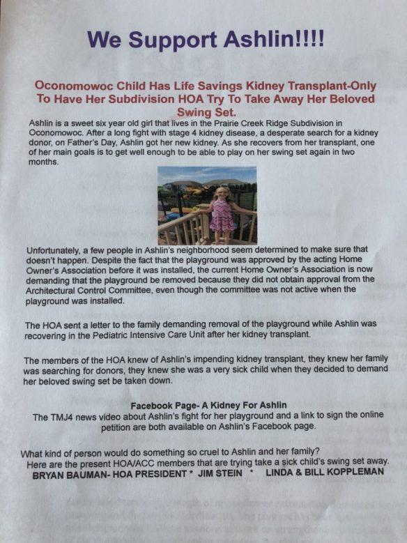 Ashlin's parents respond to Prairie Creek Ridge HOA's