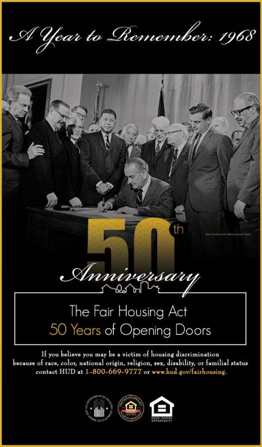 50th anniversary fair housing HUD poster