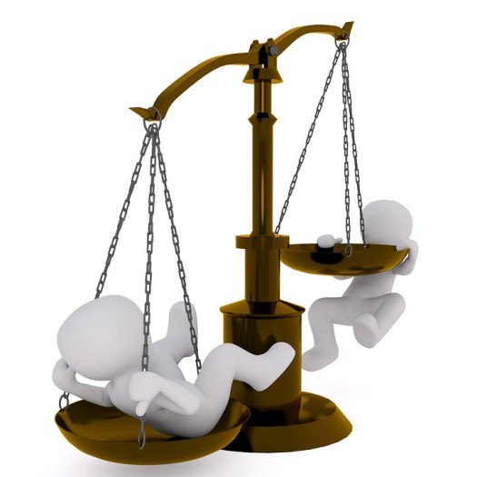Balance of power scales of justice with people