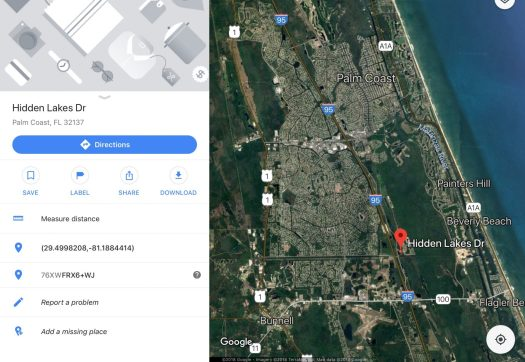 Palm Coast Florida satelllite view